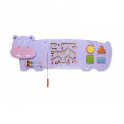 Sensoryczna tablica manipulacyjna Hipopotam drewniana Viga Toys