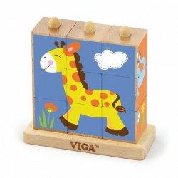 Drewniana Klocki układanka logiczna Puzzle Viga Toys Zoo 9 elementów