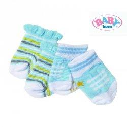 Baby Born Skarpetki dla lalki 43 cm Biało żółto niebieskie 2 pary