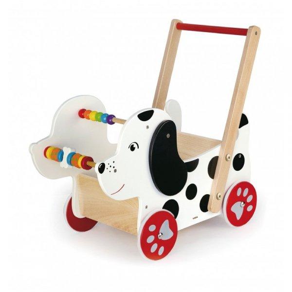 Drewniany Wózek Dla Lalek Piesek Viga Chodzik Pchacz Liczydło Edukacyjny