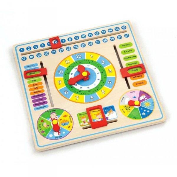 Viga Drewniana Tablica edukacyjna Kalendarz z zegarem po angielsku