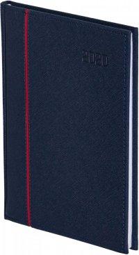 Kalendarz książkowy 2020 B5 tygodniowy papier chamois drukowane registry perforacja oprawa HAGA - oprawa przeszywana - kolor granatowy