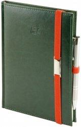 Notes A5 z długopisem zamykany na gumkę z blaszką - papier biały w kratkę ***** oprawa Nebraska zielona (gumka pomarańczowa)