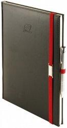 Notes A4 z długopisem zamykany na gumkę z blaszką - papier biały w kratkę - oprawa Vivella czarna (gumka czerwona)