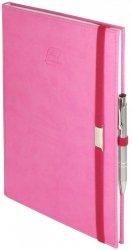 Notes A5 z długopisem zamykany na gumkę z blaszką - papier biały w kratkę - oprawa Vivella różowa (gumka różowa)