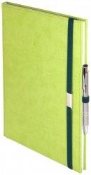 Notes A5 z długopisem zamykany na gumkę z blaszką - papier biały w kratkę - oprawa Vivella seledynowa (gumka zielona)