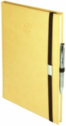 Notes A5 z długopisem zamykany na gumkę z blaszką - papier biały w kratkę - oprawa Vivella żółta (gumka brązowa)
