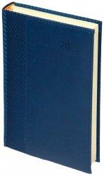 Kalendarz książkowy 2020 A5 dzienny papier chamois drukowane registry perforacja oprawa CARBON - oprawa przeszywana - kolor granatowy