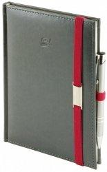 Notes A5 z długopisem zamykany na gumkę z blaszką - papier biały w kratkę - oprawa Nebraska szara (gumka czerwona)