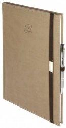 Notes A4 z długopisem zamykany na gumkę z blaszką - papier biały w kratkę - oprawa Vivella beżowa (gumka brązowa)