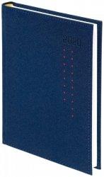 Kalendarz książkowy 2020 A4 dzienny papier biały drukowane registry oprawa ROSSA granatowa/czerwone kropki - oprawa przeszywana