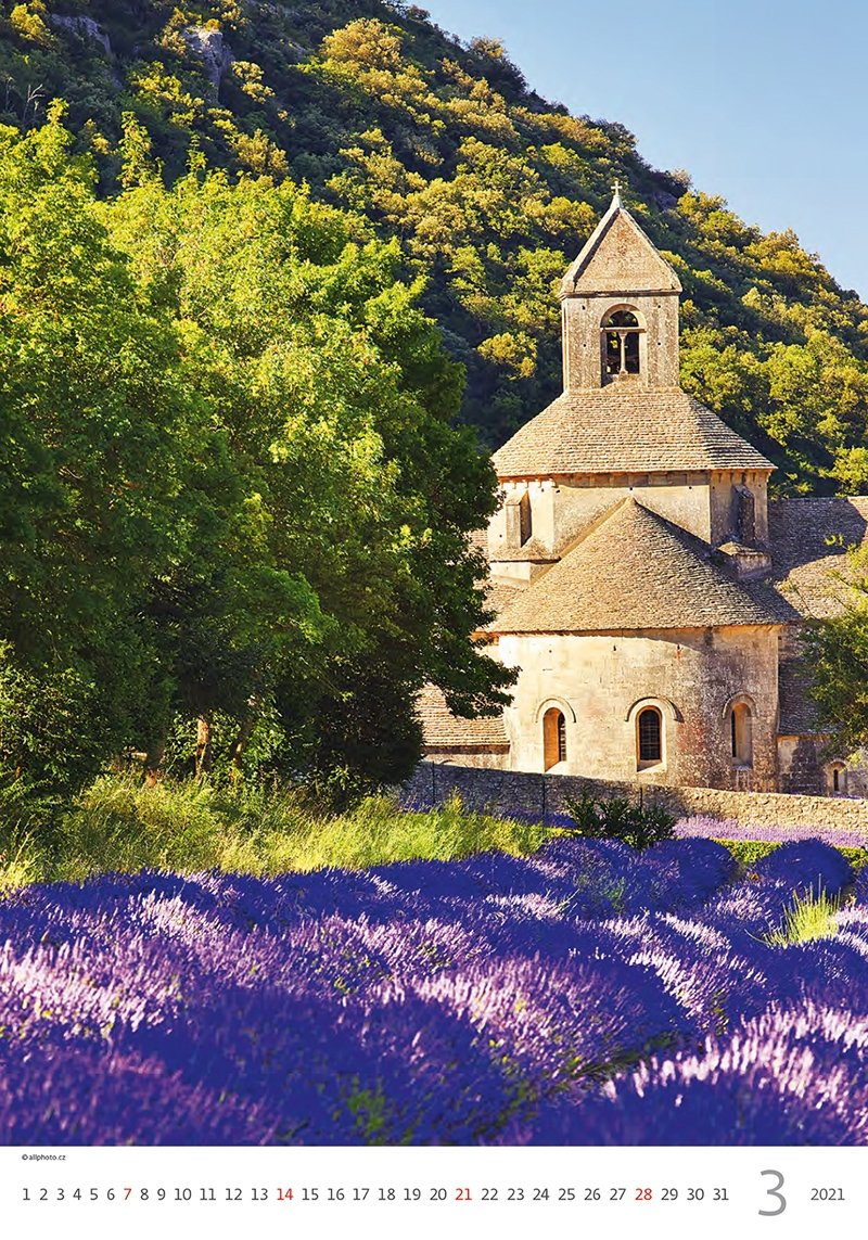 Kalendarz ścienny wieloplanszowy Provence 2021 - marzec 2021
