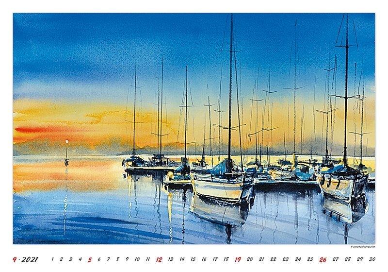 Kalendarz ścienny wieloplanszowy Watercolour Scenery 2021 - wrzesień 2021