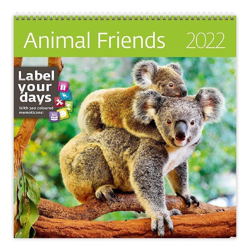 Kalendarz ścienny wieloplanszowy Animal friends 2022 z naklejkami - okładka