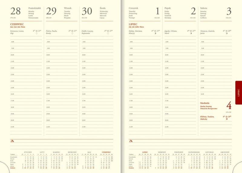 Kalendarz książkowy 2021 B5 tygodniowy papier chamois drukowane registry perforacja