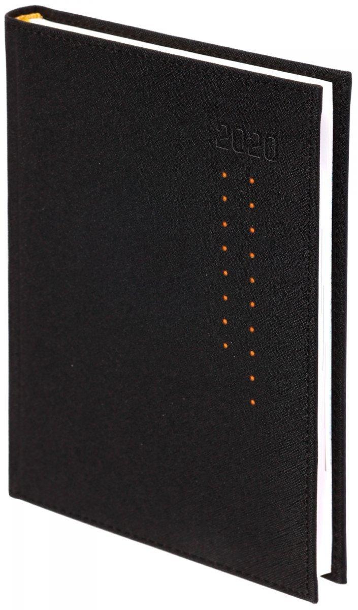 Kalendarz książkowy 2020 A4 dzienny oprawa ROSSA czarna/pomarańczowe kropki - oprawa przeszywana