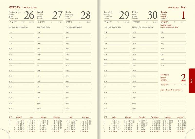 Kalendarz A5 tygodniowy papier chamois drukowane registry perforacja