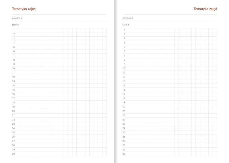 Kalendarz akademicki - Tematyka zajęć
