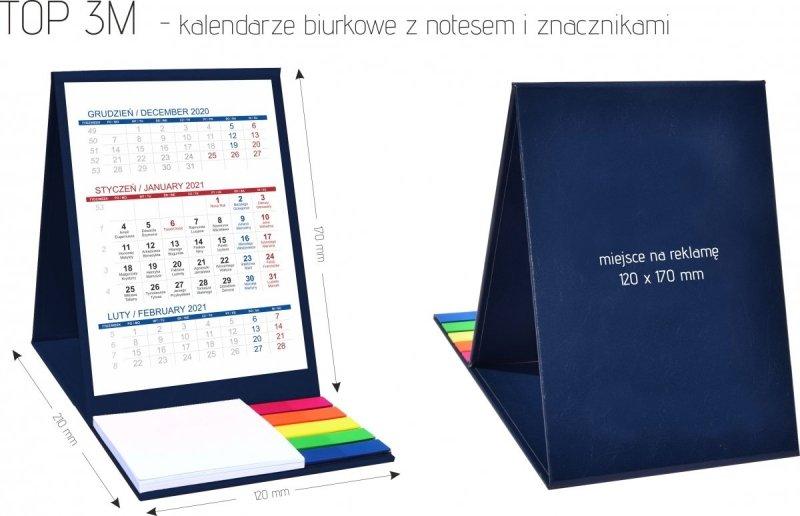 Wymiary kalendarza biurkowego z notesem i znacznikami TOP 3-miesięczny 2021 bordowy