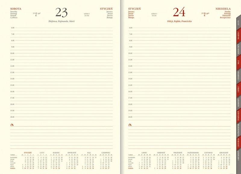 Kalendarz książkowy 2021 format A4 dzienny papier chamois z wycinanymi registrami