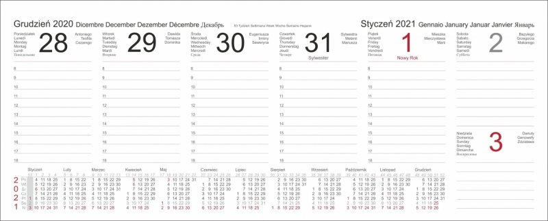 Kalendarz biurkowy z piórnikiem 2021 czerwony