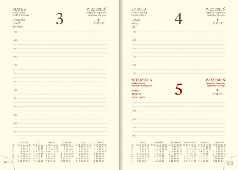 Kalendarium A5 dzienne papier chamois drukowane registry perforacja
