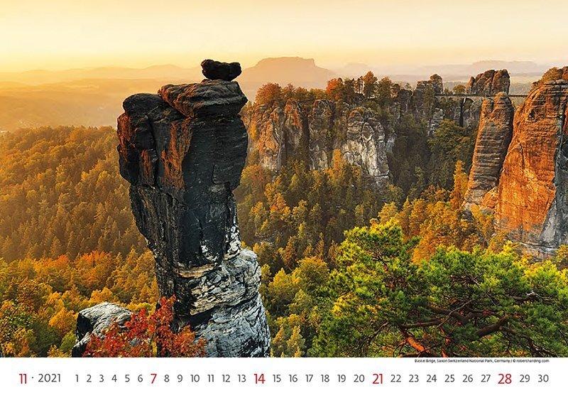 Kalendarz ścienny wieloplanszowy National Parks 2021 - listopad 2021