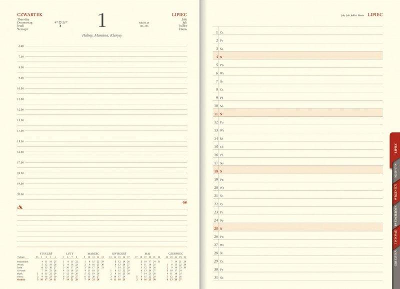 Kalendarz A4 z wycinanymi registrami sobota i niedziela oddzielnie planer przed każdym miesiącem