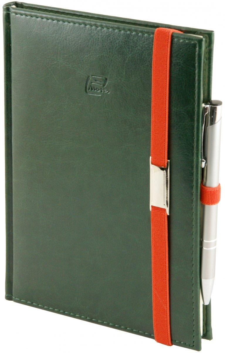 Notes A5 z długopisem zamykany na gumkę z blaszką  oprawa Nebraska zielona - okładka