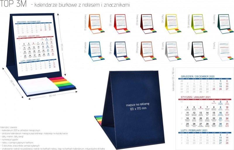 Wymiary, kolory, kalendarium do kalendarza TOP 3-miesięczny 2021