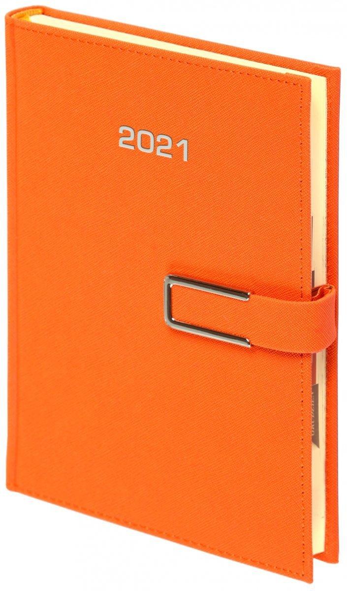 Kalendarz książkowy 2021 A4 tygodniowy oprawa ROSSA CHROMO pomarańczowa - oprawa zamykana na magnes