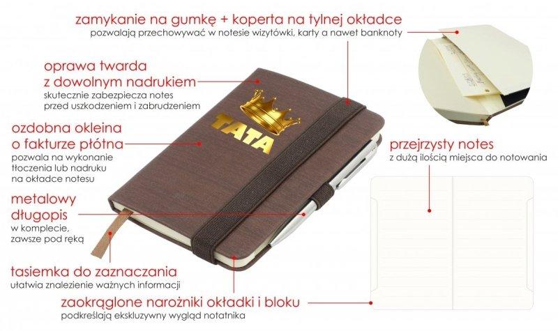 Notes A6 z długopisem zamykany na gumkę oprawa EKOSKÓRA LINEN brązowa (gumka brązowa) Z NADRUKIEM NA DZIEŃ TATY
