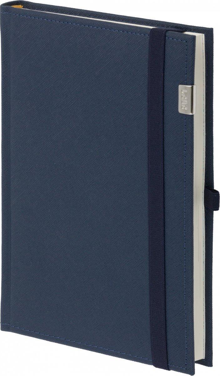 Kalendarz książkowy 2021 B5 tygodniowy oprawa Rossa z gumką i metalową datą - oprawa przeszywana - kolor granatowy
