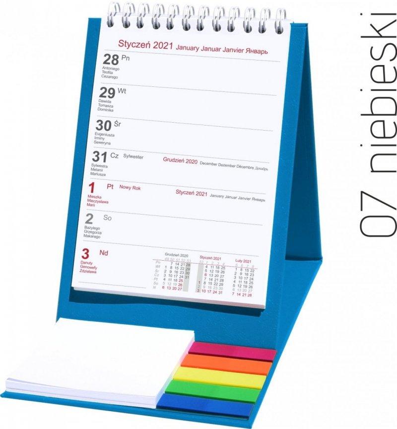Kalendarz biurkowy z notesem i znacznikami TOP tygodniowy 2021 niebieski