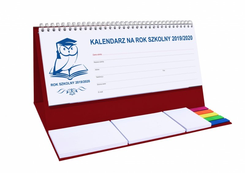 Kalendarz biurkowy EXCLUSIVE PLUS na rok szkolny 2019/2020 - bordowy