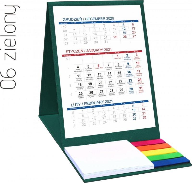 Kalendarz biurkowy z notesem i znacznikami TOP 3-miesięczny 2021 zielony