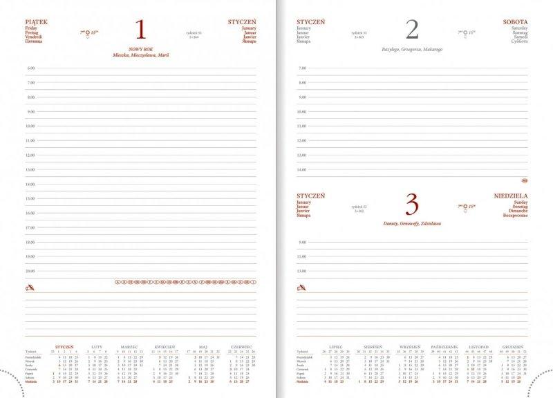 Kalendarz książkowy w formacie B5 układ dzienny z planerem przed każdym miesiącem