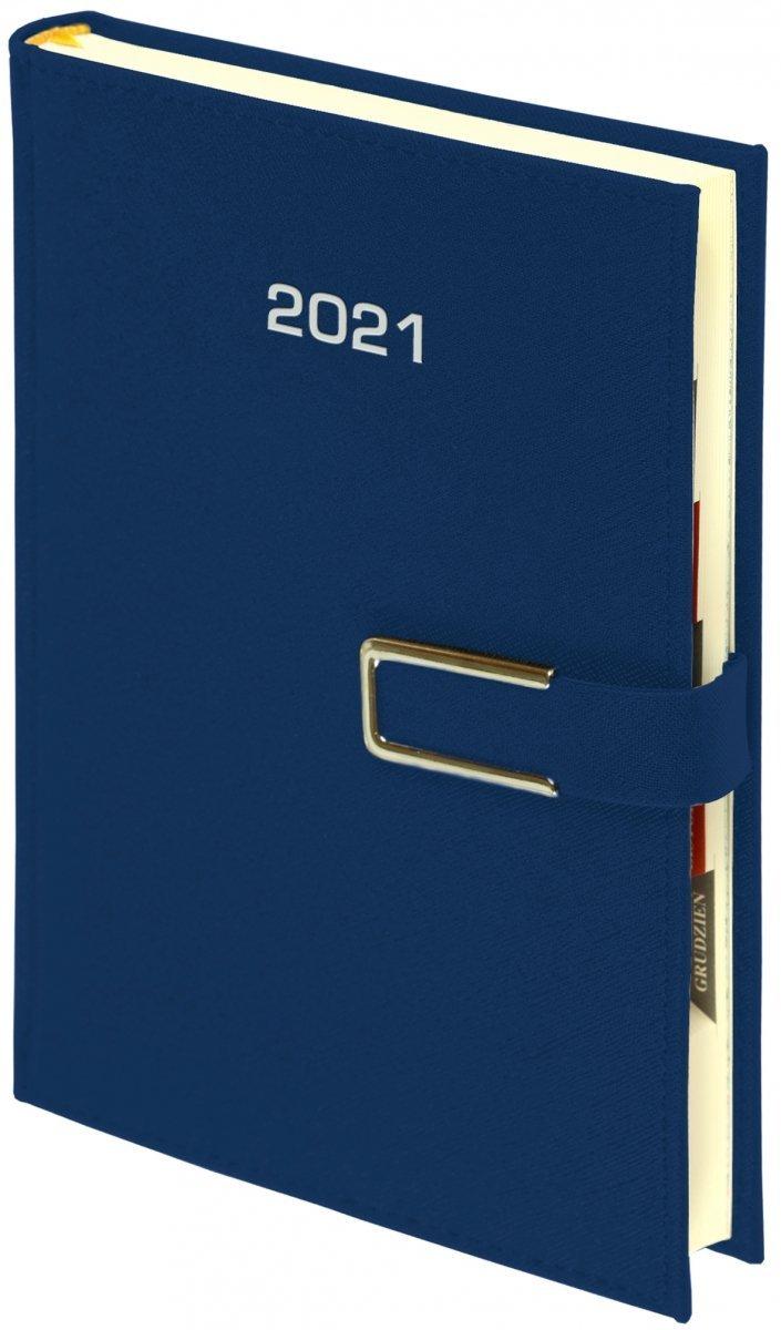 Kalendarz książkowy 2021 B5 tygodniowy papier chamois wycinane registry oprawa ROSSA CHROMO granatowa - oprawa zamykana na magnes