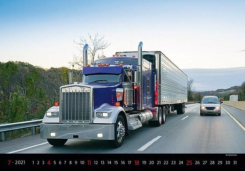 Kalendarz ścienny wieloplanszowy Trucks 2021 - lipiec 2021
