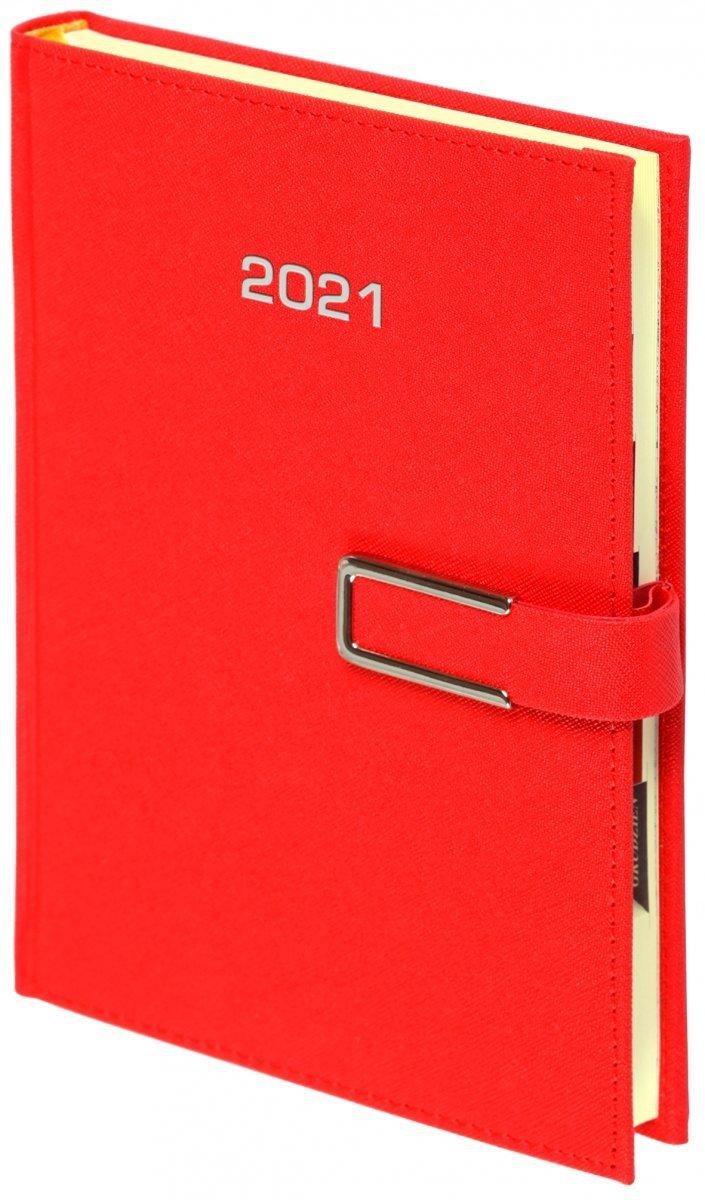 Kalendarz książkowy 2021 A4 tygodniowy oprawa ROSSA CHROMO czerwona - oprawa zamykana na magnes