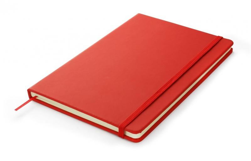 Notes A5 zamykany na gumkę - papier chamois w linie oprawa EKOSKÓRA VERONA czerwona (gumka czerwona)