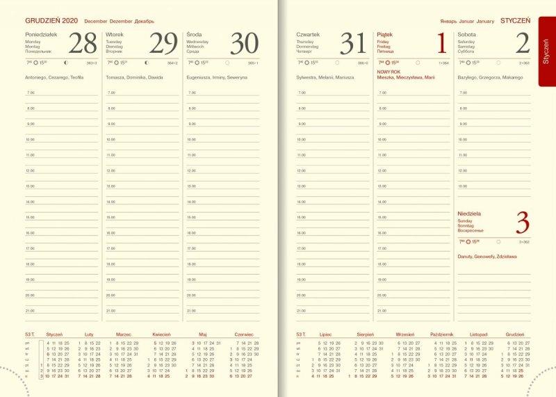 Kalendarz książkowy 2021 A5 układ tygodniowy z drukowanymi registrami