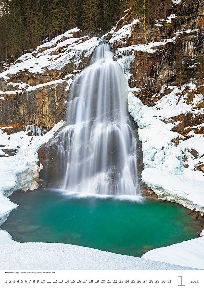 Kalendarz ścienny wieloplanszowy Waterfalls 2021 - styczeń 2021