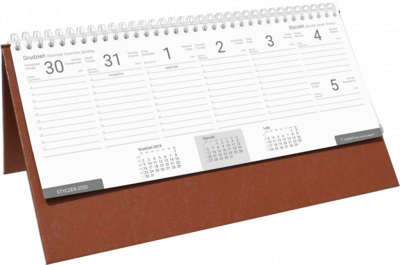 Kalendarz biurkowy stojąco-leżący BUSINESS LINE oprawa Agora kolor brązowy