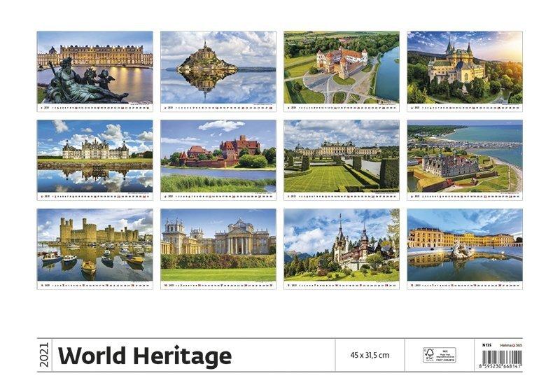 Kalendarz ścienny wieloplanszowy World Heritage 2021 - tylna okładka