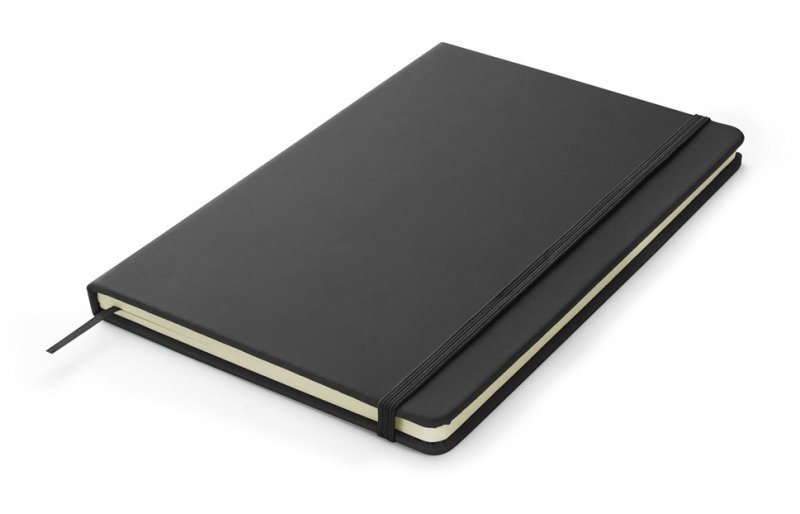 Notes A5 zamykany na gumkę - papier chamois w linie oprawa EKOSKÓRA VERONA czarna (gumka czarna)