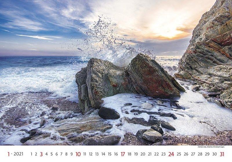 Kalendarz ścienny wieloplanszowy Sea 2021 - styczeń 2021