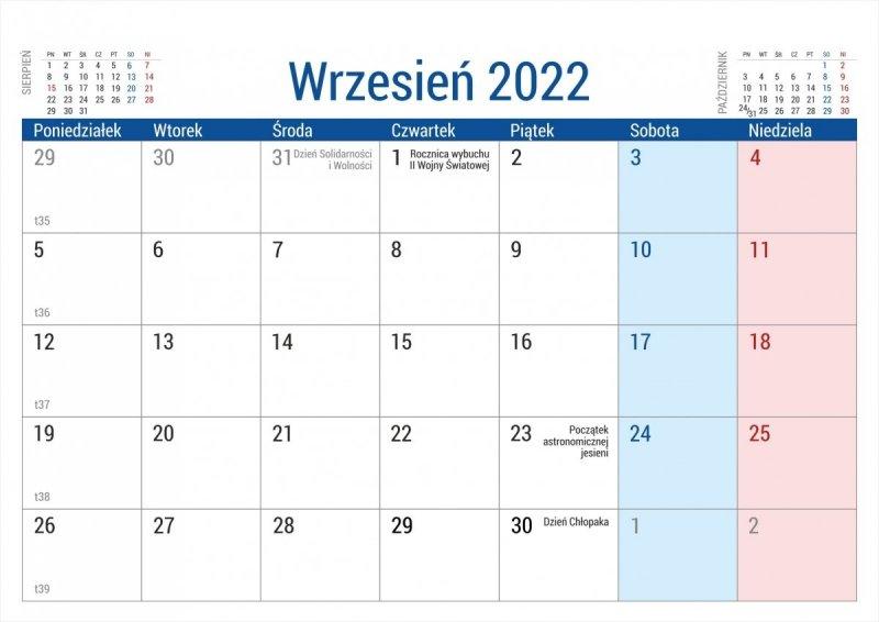 Kalendarz na biurko stojący PLANO na rok 2022 - wrzesień