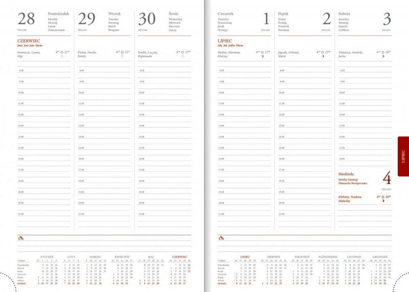 Kalendarium tygodniowe papier biały drukowane registry na rok 2021