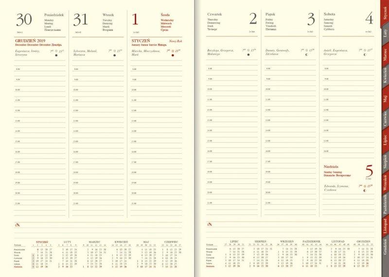 Kalendarz książkowy 2020 B5 tygodniowy papier chamois wycinane registry